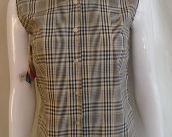 Vintage 1960s Blouse Deadstock Glen Plaid Black and Tan Rockabilly Small 36 Bust