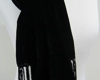 Hand Dyed Silk Rayon Velvet Scarf (Jet Black)