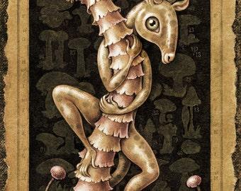 Mushroom sepia art print 16x8, Shroomdweller (Tincture): Weird creature climbing magic mushroom, Fantasy painting, Botanical shroom oddity