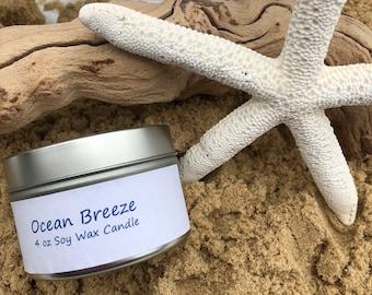Ocean Breeze 4 oz Soy Wax Candle