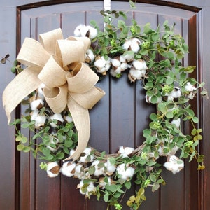 "Spring Cotton Wreath mixed with Green Eucalyptus~Summer Front Door Wreath~Mother's Day Gift~21-23"" Diameter~Burlap Bow~Black White Stripe"