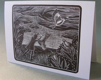 5 x 7 Notecard - A017 I WENT HUNTING // folk art / recycled / bird card / bird art / goose / nature card / landscape / linocut print