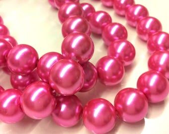 Set of 5 pink effect pearls glass Pearl 4 T