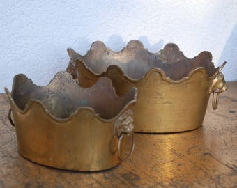 2 brass bowls like small crowns with lion heads and rings-for flower arrangements or other decorative elements