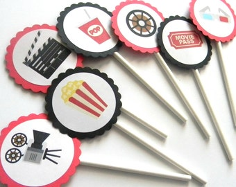 12 Movie Theme Cupcake Toppers, Movie Birthday, First Birthday, Popcorn, Movie Theme, Baby Shower, Movie Watching, Sleepover Party, Film