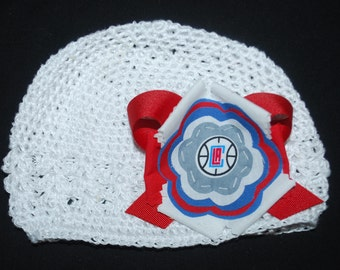 LA Clippers Fabric Flower Crochet Hat for Newborn