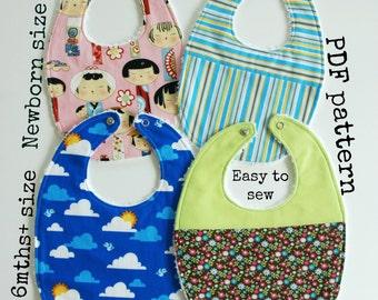 Baby bib tutorial, Baby sewing pattern, 2 sizes - 4 bibs to make, Easy sewing pattern, PDF pattern, Toddler pattern, Baby Bib pattern (S115)