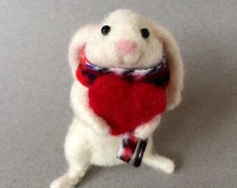 Needle felted rabbit, felted rabbit, Valentine rabbit, felted bunny, felted animal, needle felted animal, Valentine ornament, Valentine gift