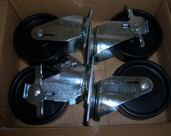"Industrial New Casters, Four Metal Casters,  Casters for Many Projects, Casters With Brakes, Swivel Casters, 4"" Wheels"
