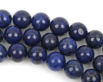 11mm Round LAPIS LAZULI Beads, full strand, 37 beads, gla0007