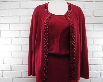 Vintage 3 PC. Rosy Red Silk Pantsuit waist size 30-32'' x 31''