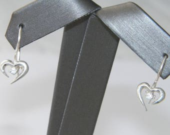 Hand Made.925 Sterling Silver Dangle Heart Earrings with 2 mm White CZ Stones