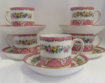 4 Vintage Crown, English Staffordshire Pink Floral Tea Cups & Saucers / 4.
