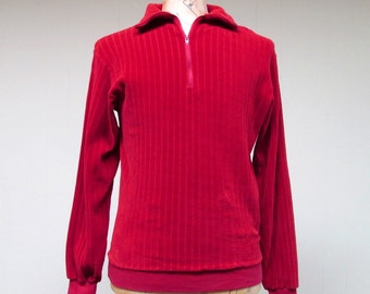 Vintage 1960s Velour Shirt / 60s Mens Red Velour Pullover / Medium
