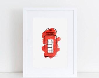 London Art Print // London red telephone box, London illustration, travel souvenir, London souvenir, London landmark, watercolor painting