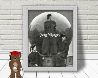 Girl Graduates  Living Room Art, Bedroom Art, Gift for Graduate, Family Room Art,  RESTORED Antique Print, College Graduation  #89