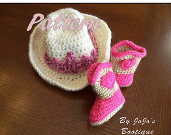 Baby Cowgirl Hat and Boots PATTERNS - Baby Cowgirl Tiara Hat and Sweetheart Boots Patterns - Crochet Patterns -by JoJosBootique