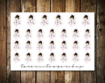 Cleaning - Cute Brunette Girl - Functional Character Stickers
