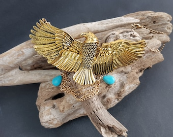 Mythological reversible bib necklace