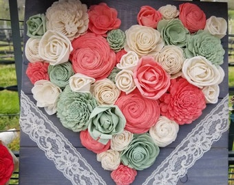 Flower heart board with lace accents