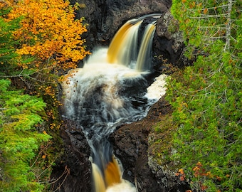 Waterfall Photography, The Cascades, Cascade River State Park, Minnesota, Lake Superior, North Shore, Fine Art Print, Autumn, Earthy Tones