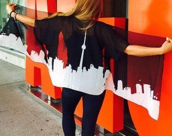Women's Toronto Kimono Top | Toronto Gift| Fashion Kimono Top | Toronto Canada Skyline | Black and White| CN Tower