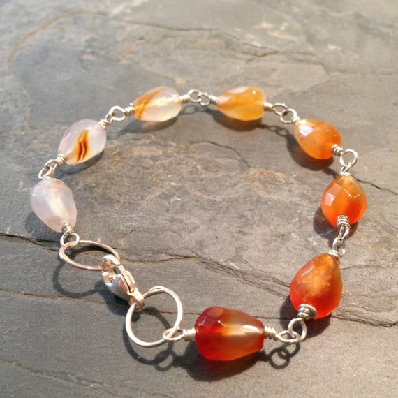 Progression - ombre carnelian and sterling link bracelet - ready to ship