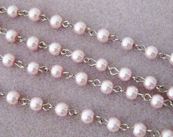 "Light Pink Glass Pearl 6mm  One Meter 39.5"" Beaded Rosary Chain Silver 964"