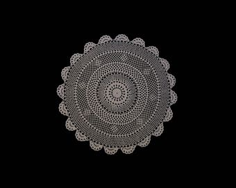 Vintage handmade crocheted centerpiece doily -- white traditional doily with scalloped edge --  16.5 inches / 42 cm