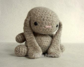 Felted Wool Bunny Crochet Plush Toy Ecru