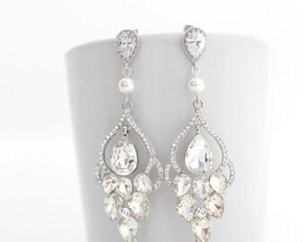Bridal Earrings Chandelier, Wedding Statement Earrings, Art Deco Wedding Earrings, Pearl Chandelier Earrings, Bridal Chandelier Earrings