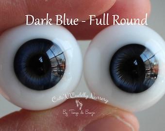 24mm - Dark Blue - Lauscha German Glass Eyes - Full Round - Hollow