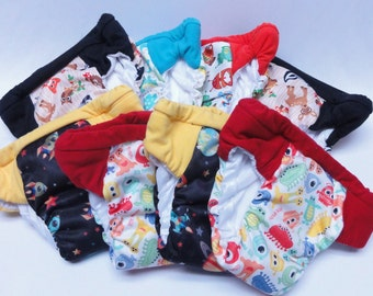 Set of 8 potty training pants for girls or boy, cloth pull up, washable cloth diapers, outdoor training underwear, daytime training pants