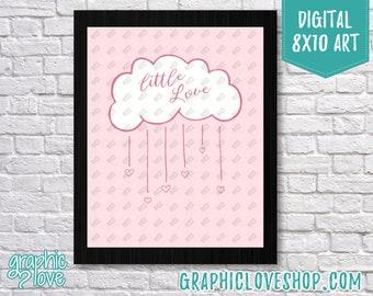 Printable 8x10 Light Pink Baby Girl Little Love Cloud Digital Nursery Art Print | High Res JPG File, Instant Download, Ready to Print