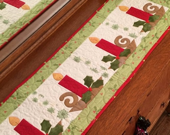 Christmas Candles PDF Table Runner Pattern by Cleo and Me