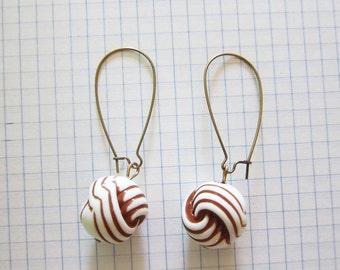 Vintage Beads Earrings Brown White Yarn Antique Brass Kidney Earwires Jewelry