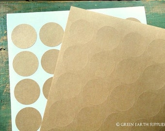 "150 Kraft 1.5"" circles, recycled stickers, kraft brown stickers, 1 1/2 in. round stickers, grocery bag circle labels (5 sheets)"