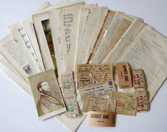 Beige ephemera pack collage pack scrapbooking  art mixed media 25 pieces BE25