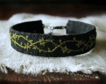 Olive Green And Black Cuff Bracelet - Embroidered Cuff - Fabric Bracelet
