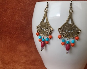 Sun Song // Yoga Earrings // Moroccan // Bohemian // Hippie Earrings // Boho Earrings // Boho Chic // Gypsy Earrings // Turquoise Earrings