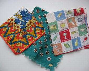 Collection of 3 Vintage Retro Look Handkerchiefs/All Cotton//Vintage Mid Century Linen//Fun Kitschy Collectible Linen//Art Craft Supply