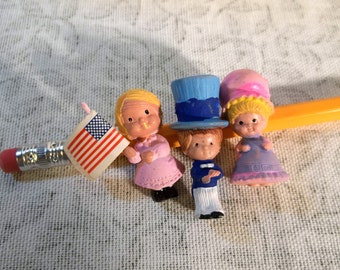 3 Vintage Independence Day Miniature Rubber People Craft Supply for Jewelry or Diorama