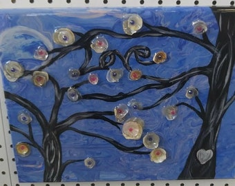 "Love Blossoms SW Florida Jingle and Coquina Shells, Acrylic Paint & Resin 11"" x 14"" Artwork"