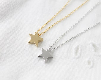 Gold and Silver Tiny Star Charm Necklace. Dainty Charm Necklace . Simple and Modern Necklace