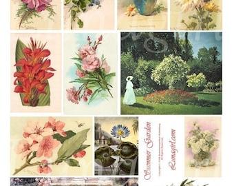 SUMMER GARDEN digital collage sheet Victorian flowers, floral cards, vintage postcards Klein Art, Victorian women goddess, ephemera DOWNLOAD