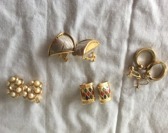 Clip Gold Colored Earrings