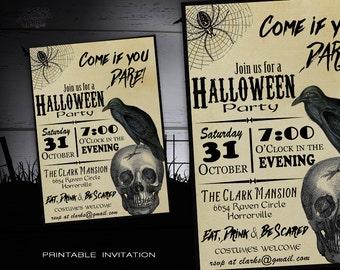 Halloween Party Invitation Adult DIY Invitations