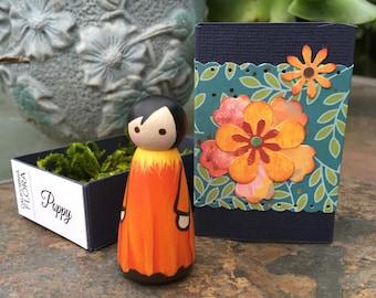 Poppy Wooden Peg Doll with Paper Matchbox {Specimen 3}