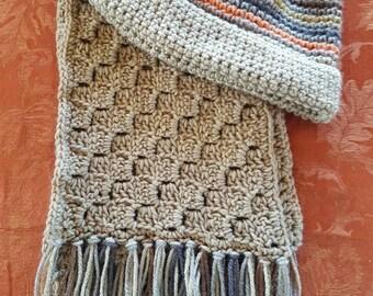 Latte Fall Crocheted Hat & Scarf