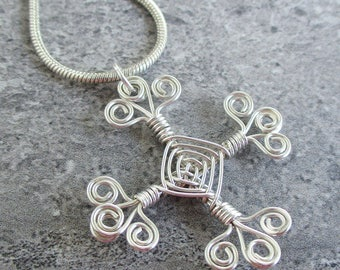 Hand Woven Sterling Silver Wire Pendant- Filigree Cross Ojos Pendant